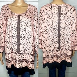 Rose & Olive Pink and Black Print Tunic Size 3x